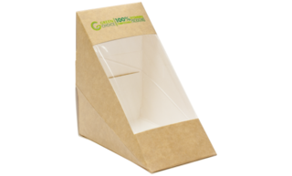 Sandwich Box KRAFT PLA - Medium Carton  500    - Green Choice