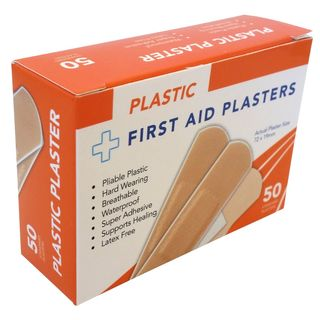 Box of 50's Plastic Plasters, 72x19mm Waterproof