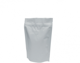 250g Stand-Up Coffee Pouch, Rip-Top & Resealable Zipper, Matte White - Castaway