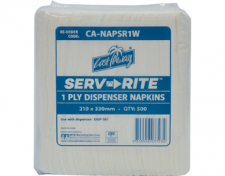 Serv-Rite' 1ply Dispenser Napkins, White - Castaway