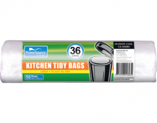 PrimeSource' Large Kitchen Tidy Bags - 36 Litres, Perforated Roll - Castaway